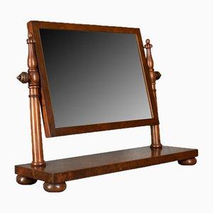 Espejo de tocador antiguo grande de caoba, década de 1830