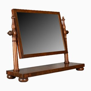 Large Antique Flame Mahogany Dressing Table Mirror, 1830s