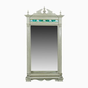 Large Painted Wall Mirror with Tiles, 1890s