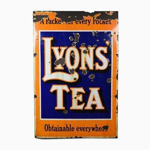 Cartel publicitario de Lyons Tea grande esmaltado, años 50