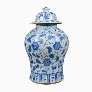 Grand Vase Balustre Vintage Bleu et Blanc avec Couvercle