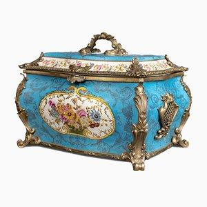 Große dekorative Vintage Schatulle aus Porzellan