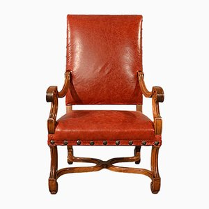 Large Antique Leather & Walnut Armchair, 1880s