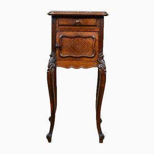 Antique French Walnut & Marble Nightstand, 1880s