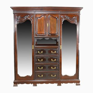 Antique Carved Mahogany Wardrobe, 1910s