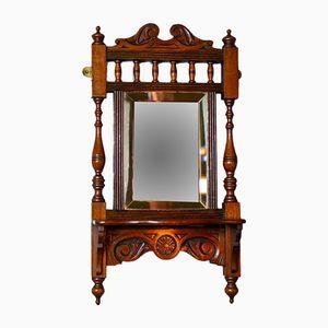 Antique Walnut Valet Mirror, 1910s