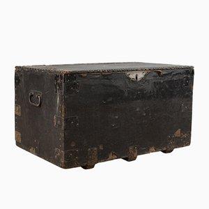 Caja de herramientas antigua de caoba y metal, década de 1900