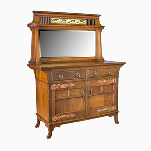 Antique English Arts & Crafts Oak Cabinet, 1900s