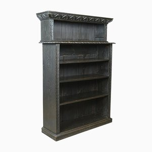 Antique Oak Open Bookshelf, 1890s