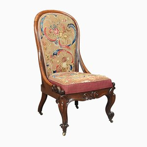 Antique English Walnut Nursing Chair, 1840s