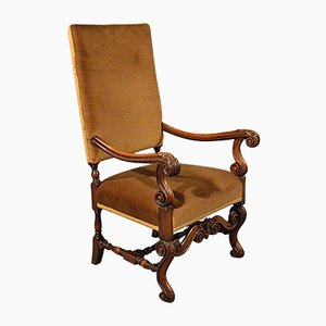 Victorian English Walnut Armchair, 1880s