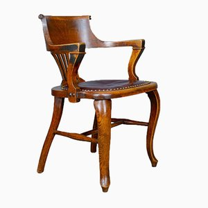Chaise de Bureau Antique en Chêne et en Cuir, Angleterre, 1910s