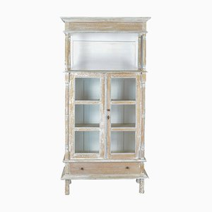 Antique French Limed Oak Display Cabinet