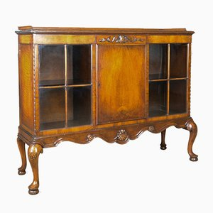 Antique Walnut Display Cabinet from Waring and Gillows Ltd., 1910s