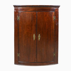 Antique Mahogany Georgian Bow Fronted Corner Cabinet, 1800s