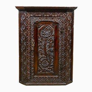 Georgian Carved Oak Corner Cabinet, 1760s