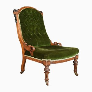 Antique Scottish Oak Nursing Chair, 1850s