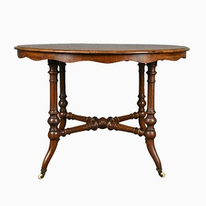 Antique Victorian English Burr Walnut Center Table, 1870s
