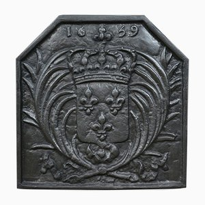 Antique Cast Iron Fire Back with Coat of Arms, 1900s