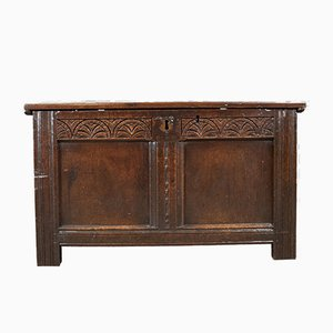 Antique English Oak Trunk, 1700s