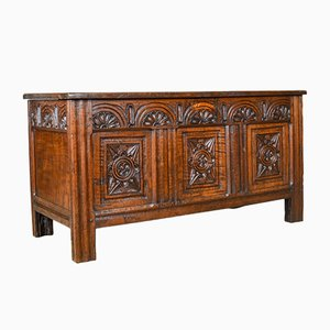 Antique English Oak Coffer Chest, 1700s