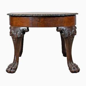 Antique English Oak Marquetry Coffee Table, 1870s