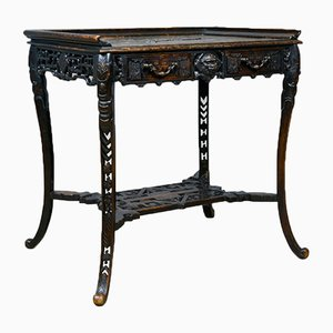 Antique Carved Chinese Side Table, 1900s