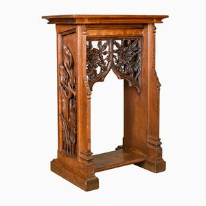 Antique English Carved Oak Lectern, 1880s