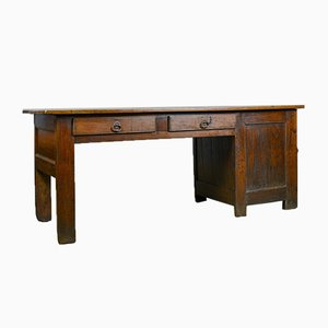 Antique French Oak & Elm Desk, 1850s