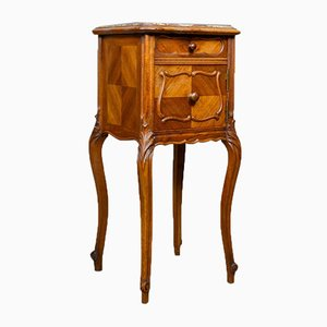 Antique French Walnut & Marble Bedside Cabinet, 1890s