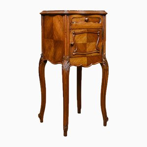 Antique French Walnut & Marble Bedside Cabinet, 1910s