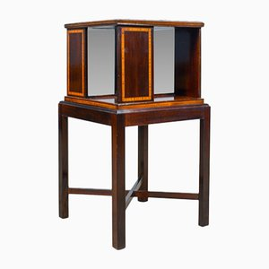 Antique Walnut Four-Sided Bookcase Stand, 1910s