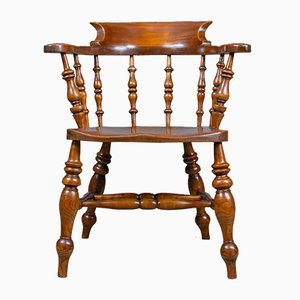 Antique Victorian Elm Bow-Back Armchair, 1880s