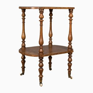 Antique English Burr Walnut 2-Tier Side Table, 1870s