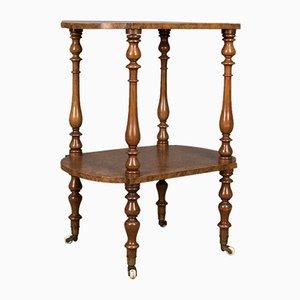 Table d'Appoint à 2 Niveaux Antique en Loupe de Noyer, Angleterre, 1870s