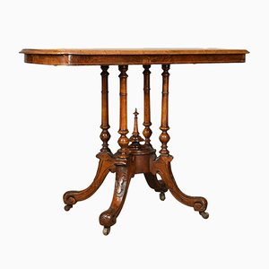 Antique English Burr Walnut Side Table, 1870s
