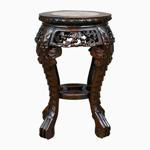 Antique Chinese Teak & Marble Side Table, 1900s