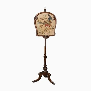 Antique Victorian Pole Fire Screen, 1850s
