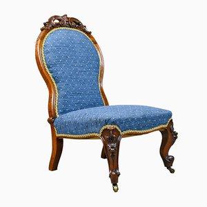 Antiker englischer Salon Stuhl aus Nussholz