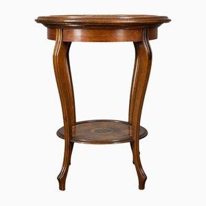 Antique Italian Mahogany & Leather Tea Table, 1900s