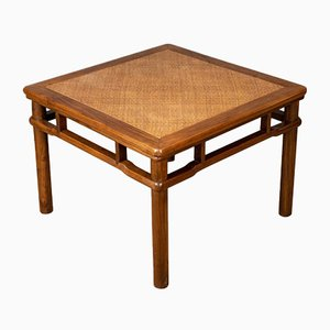 Late 20th Century Chinese Elm and Rattan Coffee Table