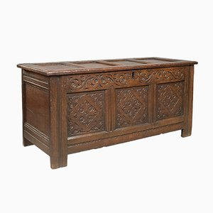Antique English Carved Oak Chest, 1700s