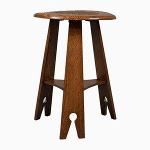 Arts & Crafts Carved Oak Side Table, 1890s