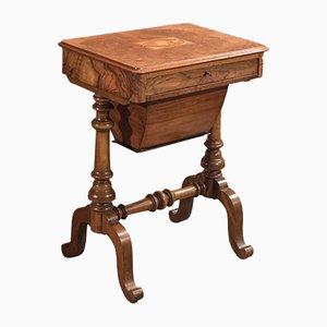 Mesa de costura victoriana antigua, década de 1860