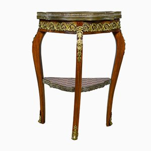 Antique French Marble & Birch Side Table, 1900s
