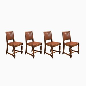 Antique Edwardian Oak and Leather Dining Chairs, 1910s, Set of 4
