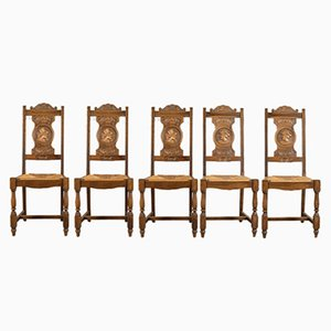 Antique Dining Chairs, 1910s, Set of 5