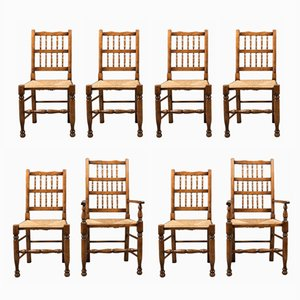Early 19th Century English Spindleback Dining Chairs, Set of 8