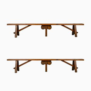 Long Mid-Century French Oak & Pine Benches, Set of 2