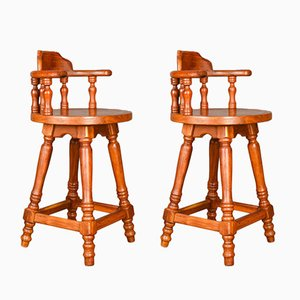 Large Hardwood Swivel Bar Stools, Set of 2